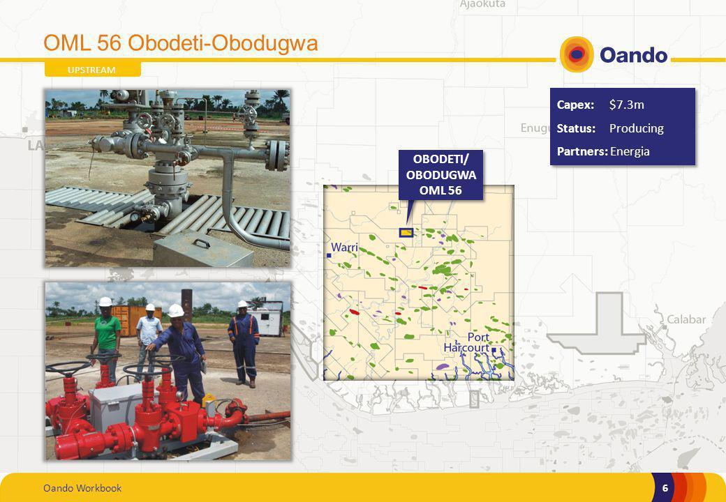 Oando Workbook6 6 OML 56 Obodeti-Obodugwa UPSTREAM OBODETI/ OBODUGWA OML 56 Capex: $7.3m Status: Producing Partners: Energia Capex: $7.3m Status: Prod