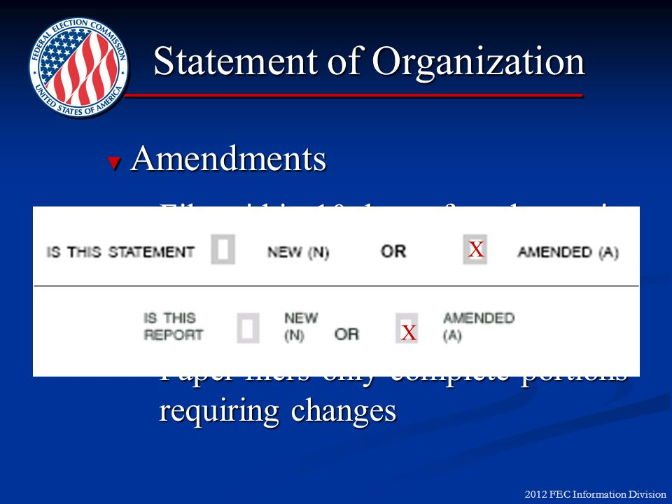 2012 FEC Information Division Amendments Amendments File within 10 days after change in informationFile within 10 days after change in information E-filers submit a complete Form 1E-filers submit a complete Form 1 Paper filers only complete portions requiring changesPaper filers only complete portions requiring changes Statement of Organization X X