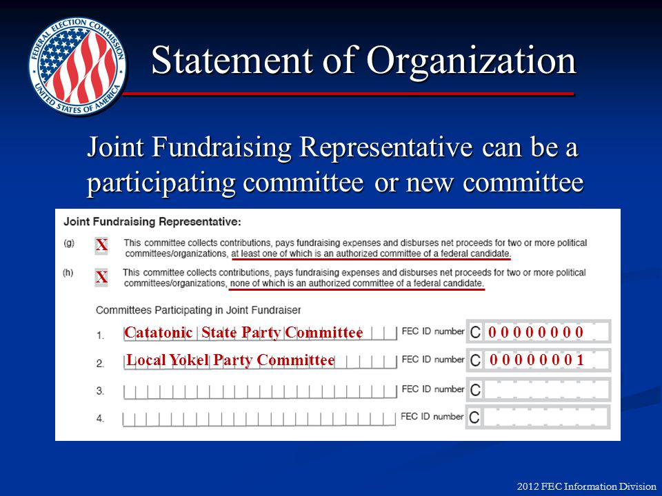 2012 FEC Information Division Joint Fundraising Representative can be a participating committee or new committee X X Catatonic State Party Committee 0