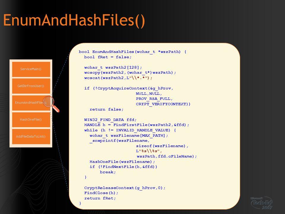 EnumAndHashFiles() ServiceMain() EnumAndHashFiles() GetDirFromUser() HashOneFile() AddFileDataToList() bool EnumAndHashFiles(wchar_t *wszPath) { bool