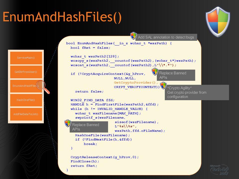 EnumAndHashFiles() ServiceMain() EnumAndHashFiles() GetDirFromUser() HashOneFile() AddFileDataToList() bool EnumAndHashFiles(__in_z wchar_t *wszPath)