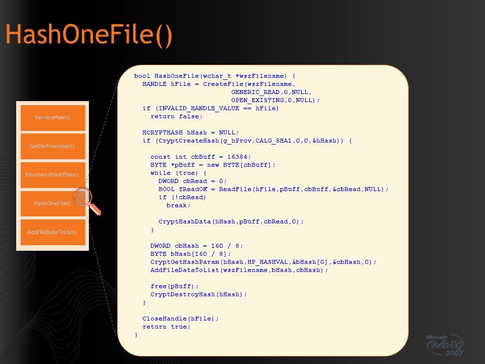 HashOneFile() ServiceMain() EnumAndHashFiles() GetDirFromUser() HashOneFile() AddFileDataToList() bool HashOneFile(wchar_t *wszFilename) { HANDLE hFil
