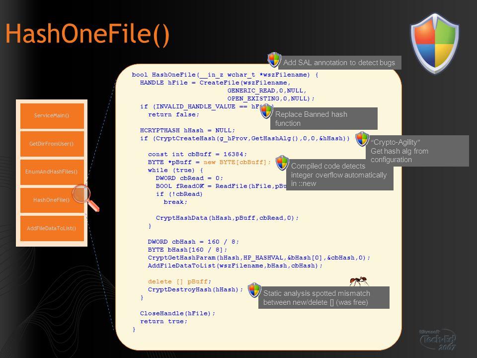 HashOneFile() ServiceMain() EnumAndHashFiles() GetDirFromUser() HashOneFile() AddFileDataToList() bool HashOneFile(__in_z wchar_t *wszFilename) { HAND