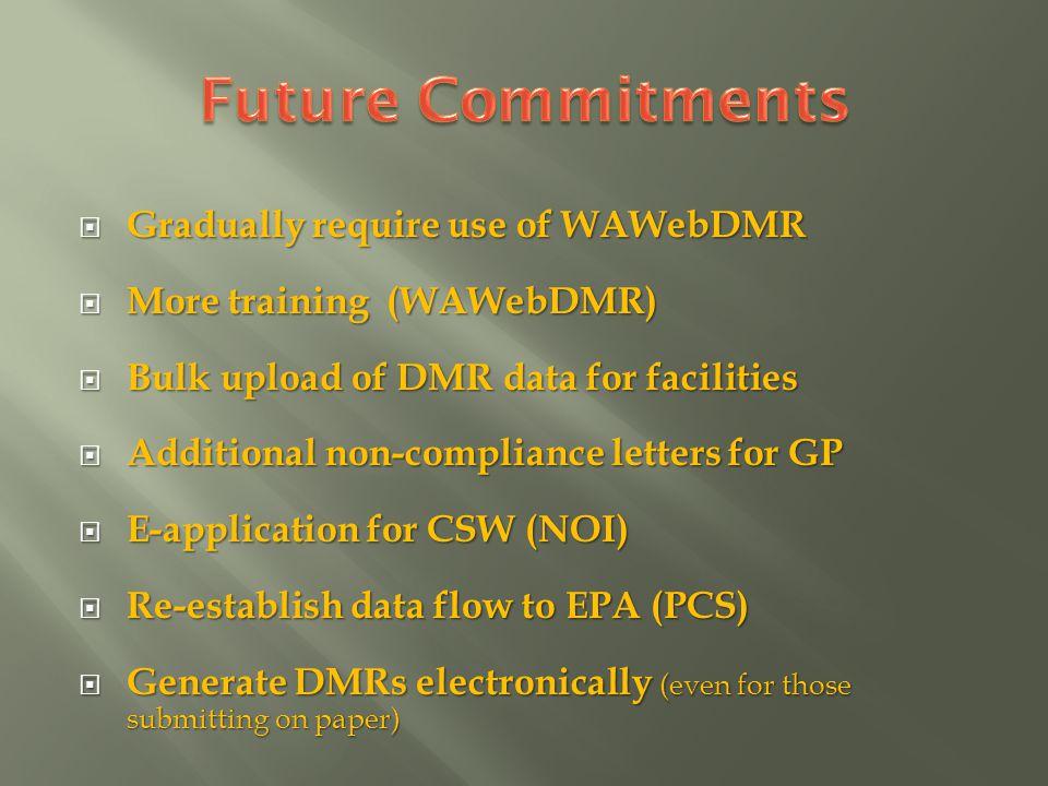 Gradually require use of WAWebDMR Gradually require use of WAWebDMR More training (WAWebDMR) More training (WAWebDMR) Bulk upload of DMR data for faci