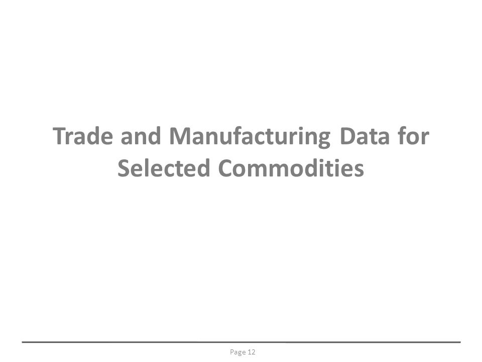Trade and Manufacturing Data for Selected Commodities Page 12
