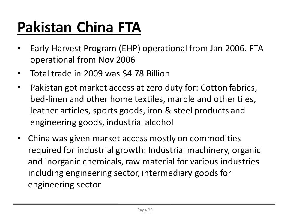Early Harvest Program (EHP) operational from Jan 2006.