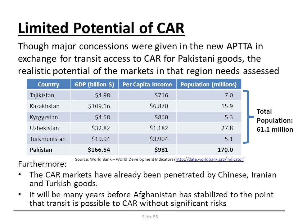 Furthermore: The CAR markets have already been penetrated by Chinese, Iranian and Turkish goods.