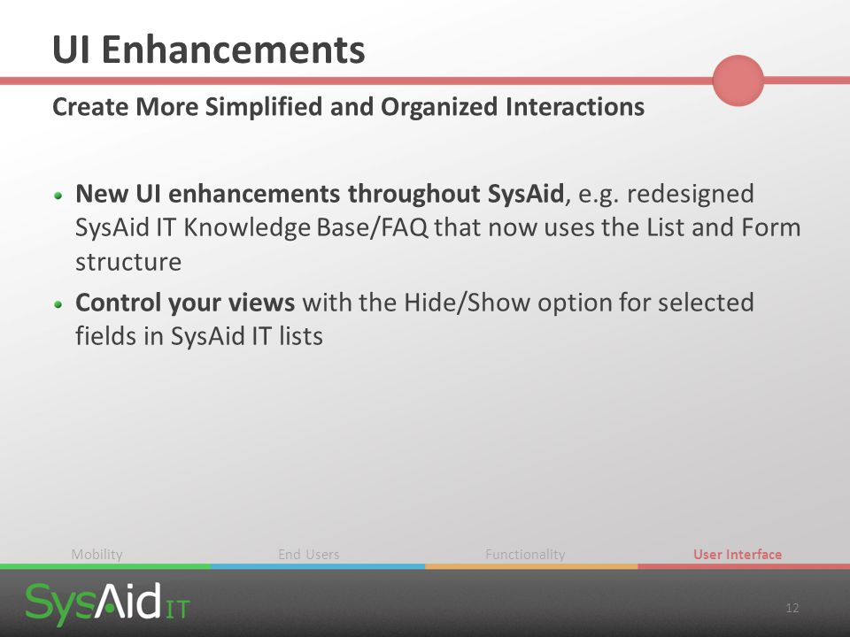 UI Enhancements Create More Simplified and Organized Interactions New UI enhancements throughout SysAid, e.g. redesigned SysAid IT Knowledge Base/FAQ