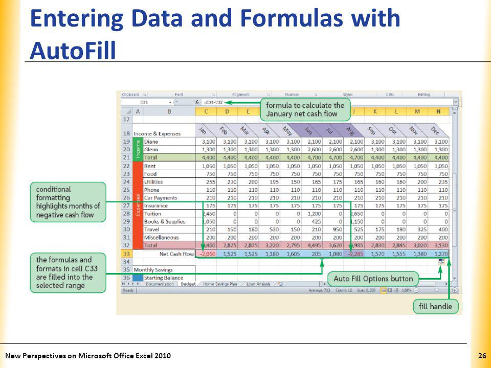 XP Entering Data and Formulas with AutoFill New Perspectives on Microsoft Office Excel 201026