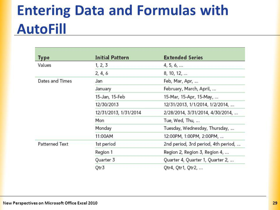 XP Entering Data and Formulas with AutoFill New Perspectives on Microsoft Office Excel 201029