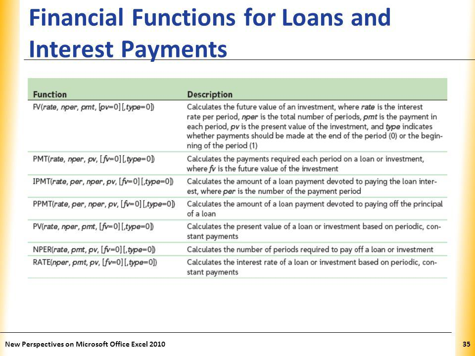 XP Financial Functions for Loans and Interest Payments New Perspectives on Microsoft Office Excel 201035