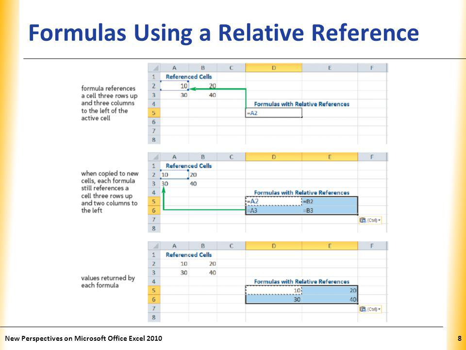 XP Formulas Using a Relative Reference New Perspectives on Microsoft Office Excel 20108