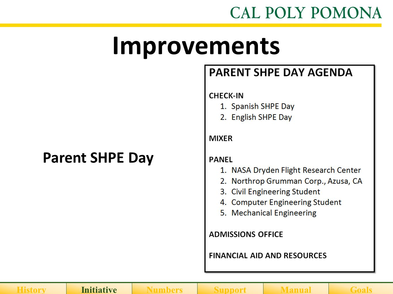 Improvements HistoryInitiativeNumbersSupportGoalsManual Parent SHPE Day