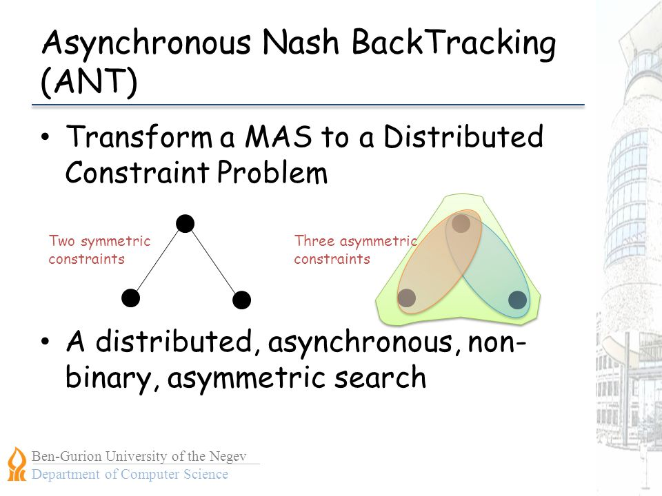 Ben-Gurion University of the Negev Department of Computer Science Asynchronous Nash BackTracking (ANT) Transform a MAS to a Distributed Constraint Problem A distributed, asynchronous, non- binary, asymmetric search Two symmetric constraints Three asymmetric constraints