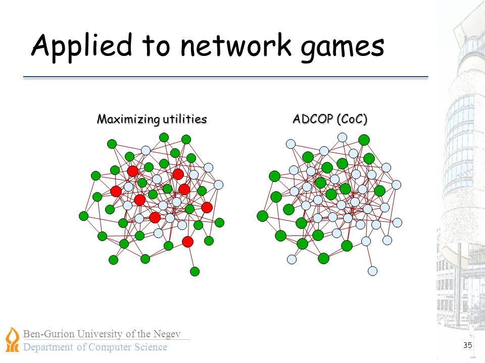 Ben-Gurion University of the Negev Department of Computer Science Applied to network games 35 ADCOP (CoC) Maximizing utilities