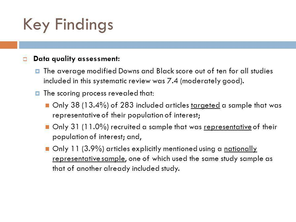 Key Findings Data quality assessment: The average modified Downs and Black score out of ten for all studies included in this systematic review was 7.4