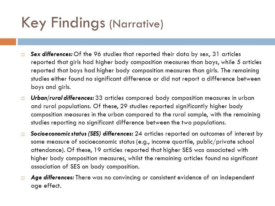 Key Findings (Narrative) Sex differences: Of the 96 studies that reported their data by sex, 31 articles reported that girls had higher body compositi