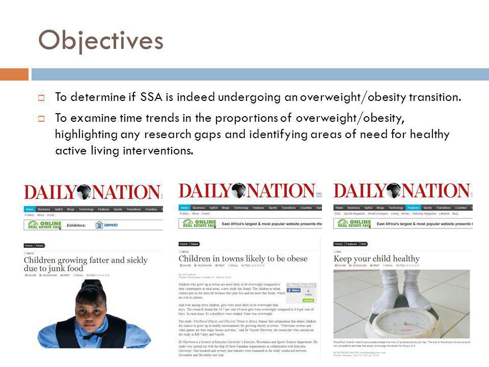 Objectives To determine if SSA is indeed undergoing an overweight/obesity transition. To examine time trends in the proportions of overweight/obesity,