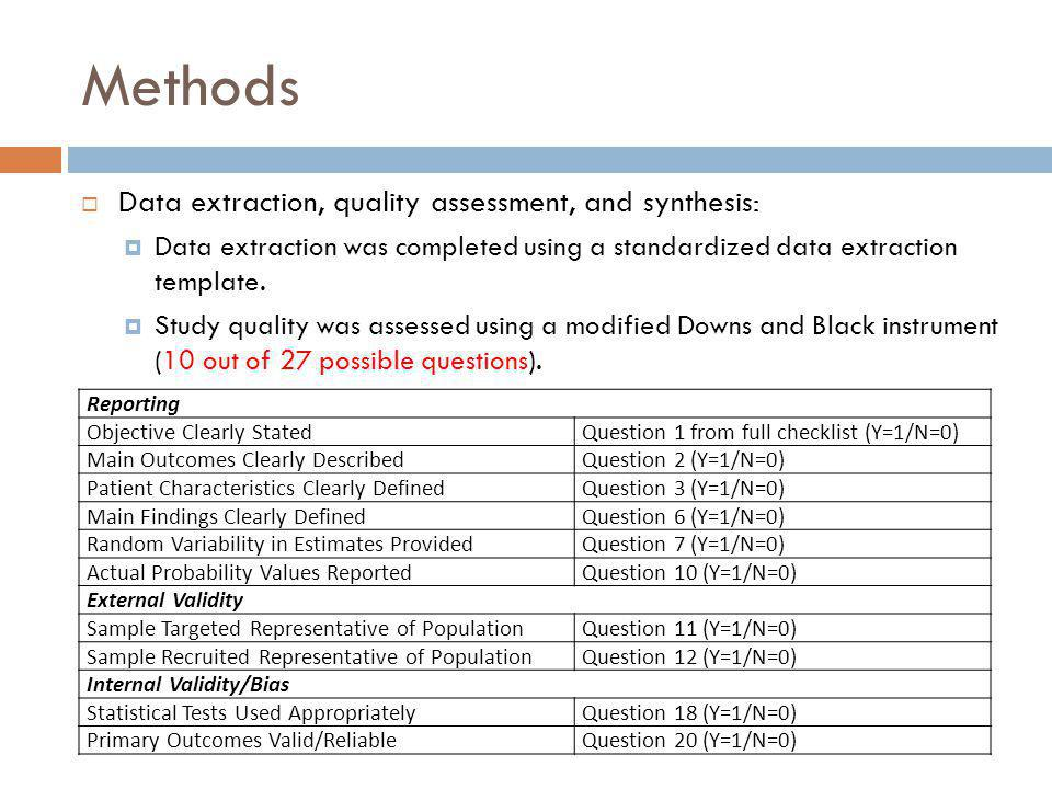 Methods Data extraction, quality assessment, and synthesis: Data extraction was completed using a standardized data extraction template. Study quality