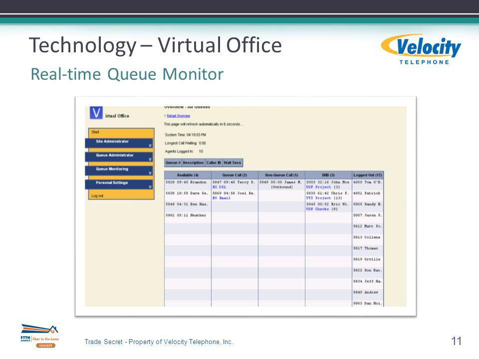 Technology – Virtual Office Real-time Queue Monitor 11 Trade Secret - Property of Velocity Telephone, Inc.