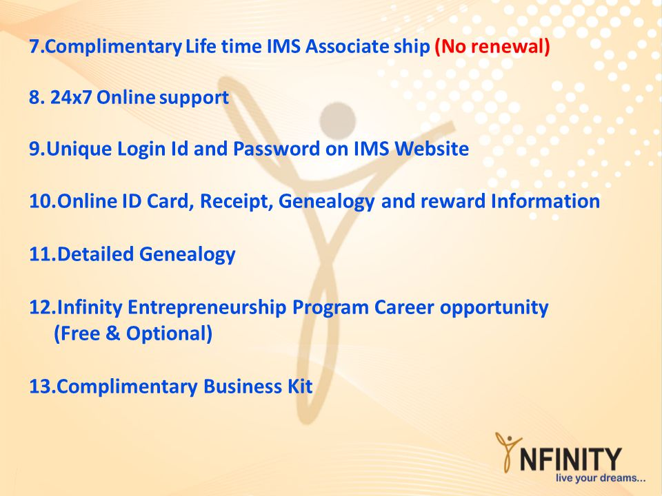 7.Complimentary Life time IMS Associate ship (No renewal) 8. 24x7 Online support 9.Unique Login Id and Password on IMS Website 10.Online ID Card, Rece