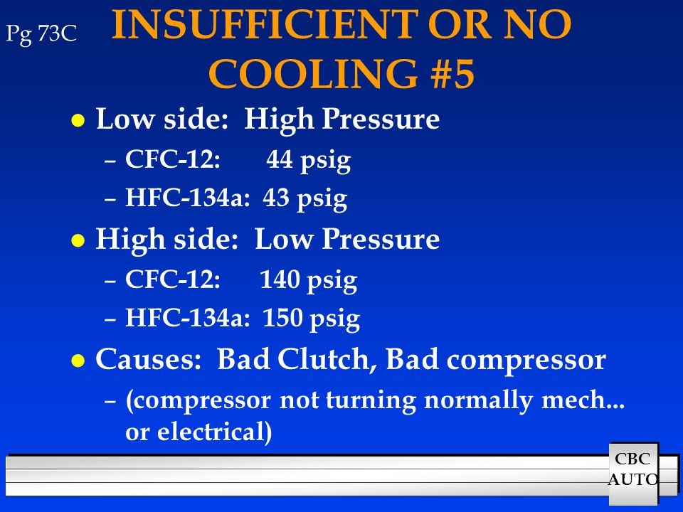CBC AUTO INSUFFICIENT OR NO COOLING #5 l Low side: High Pressure – CFC-12: 44 psig – HFC-134a: 43 psig l High side: Low Pressure – CFC-12: 140 psig –
