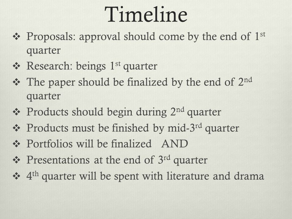 Timeline Proposals: approval should come by the end of 1 st quarter Research: beings 1 st quarter The paper should be finalized by the end of 2 nd quarter Products should begin during 2 nd quarter Products must be finished by mid-3 rd quarter Portfolios will be finalized AND Presentations at the end of 3 rd quarter 4 th quarter will be spent with literature and drama