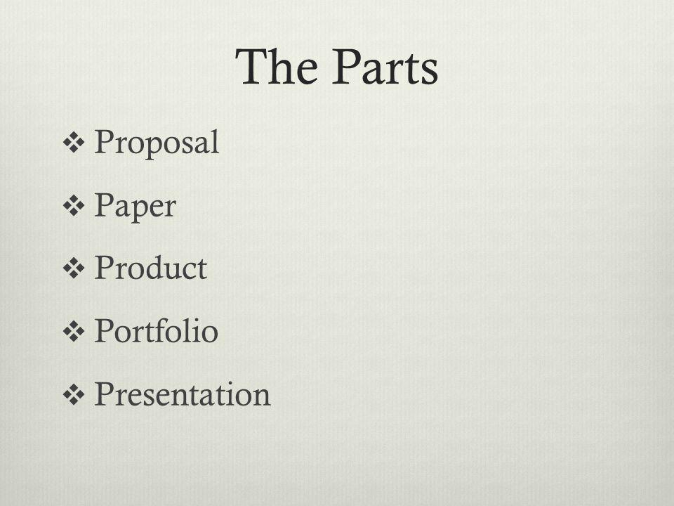 The Parts Proposal Paper Product Portfolio Presentation