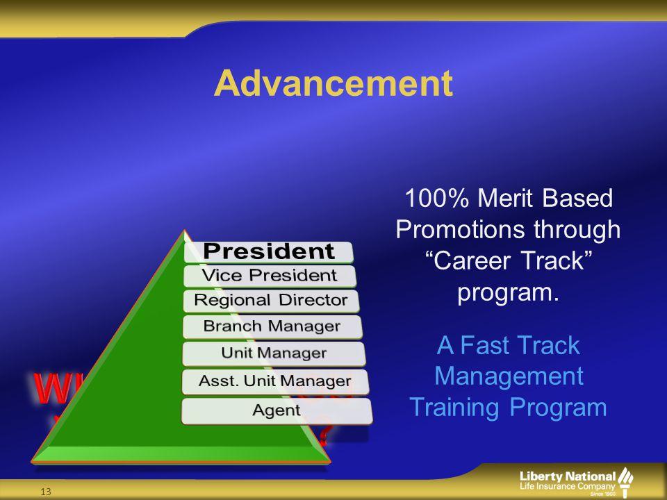 Advancement 100% Merit Based Promotions through Career Track program. A Fast Track Management Training Program 13