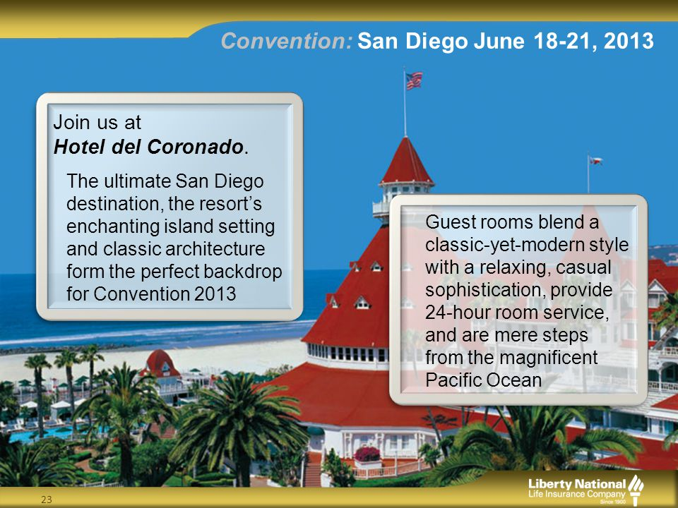 Convention: San Diego June 18-21, 2013 23 Join us at Hotel del Coronado.