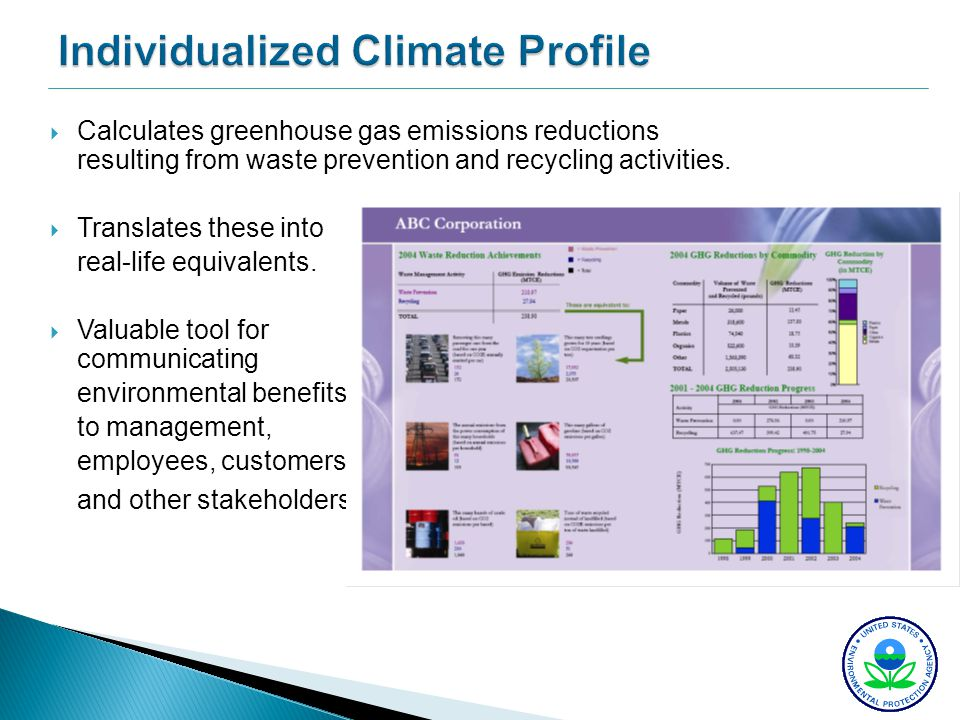Individualized Climate Profile Calculates greenhouse gas emissions reductions resulting from waste prevention and recycling activities. Translates the