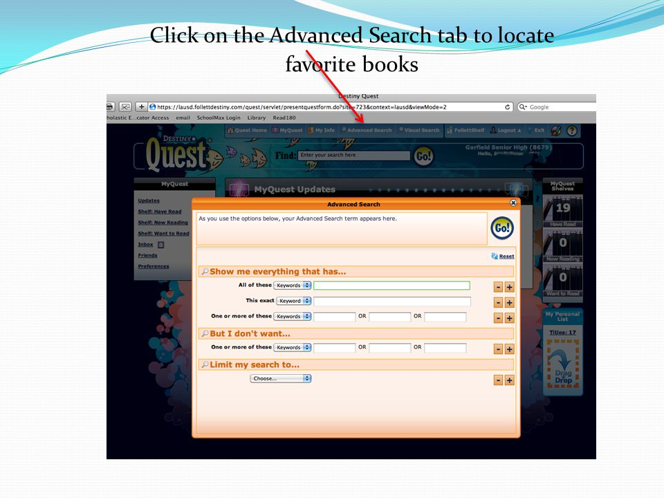 Click on the Advanced Search tab to locate favorite books
