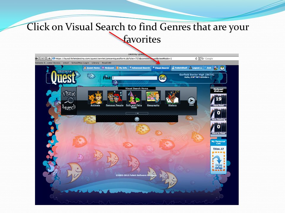 Click on Visual Search to find Genres that are your favorites