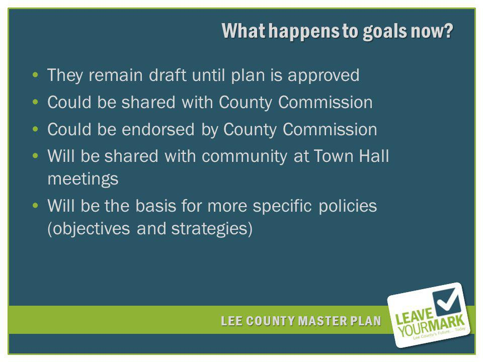 LEE COUNTY MASTER PLAN What happens to goals now.