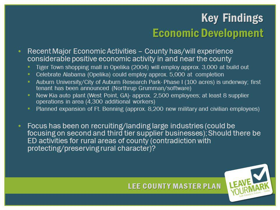 LEE COUNTY MASTER PLAN Key Findings Economic Development Recent Major Economic Activities – County has/will experience considerable positive economic activity in and near the county Tiger Town shopping mall in Opelika (2004) will employ approx.