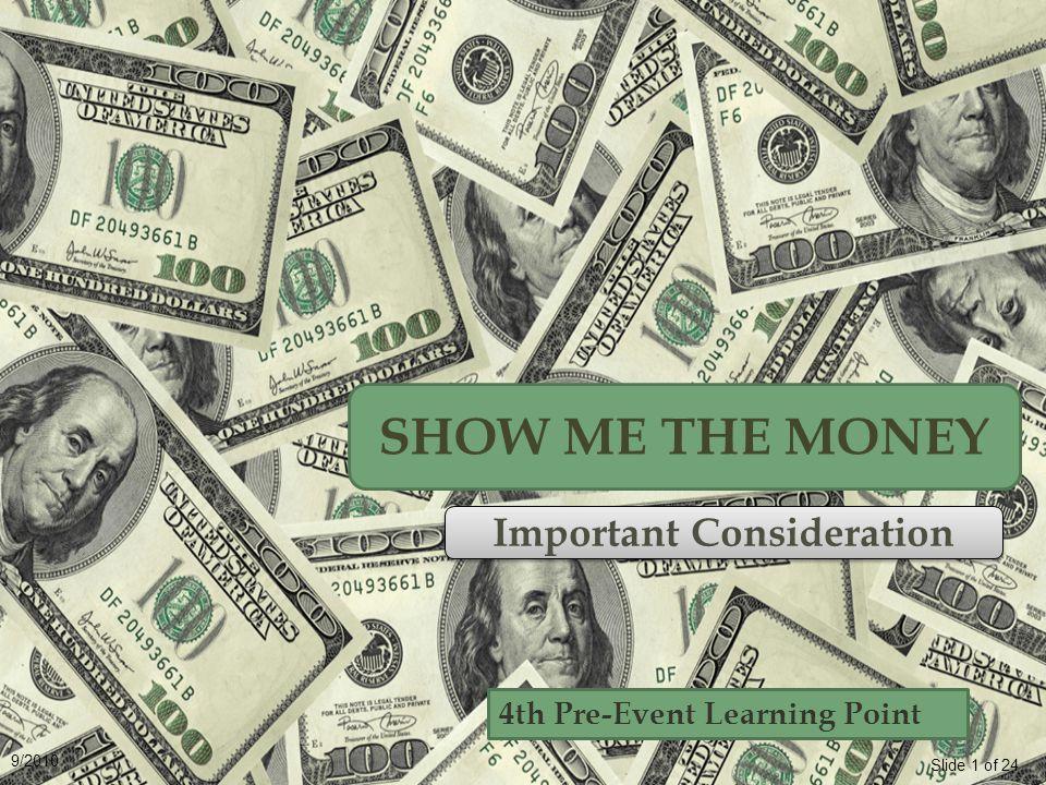 Slide 12 of 24 9/2010 Earning More Money HourMonthYear $15$2,600$31,200 $10$1,733$20,796 $7.25$1,257$15,084