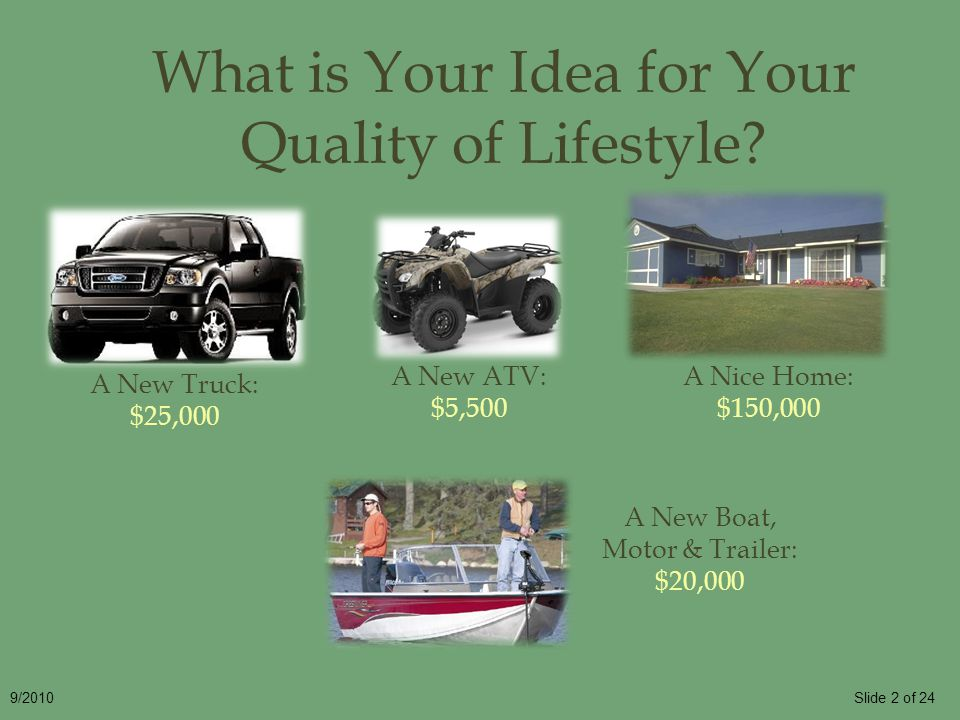 Slide 2 of 249/2010 What is Your Idea for Your Quality of Lifestyle? A New Truck: $25,000 A Nice Home: $150,000 A New Boat, Motor & Trailer: $20,000 A