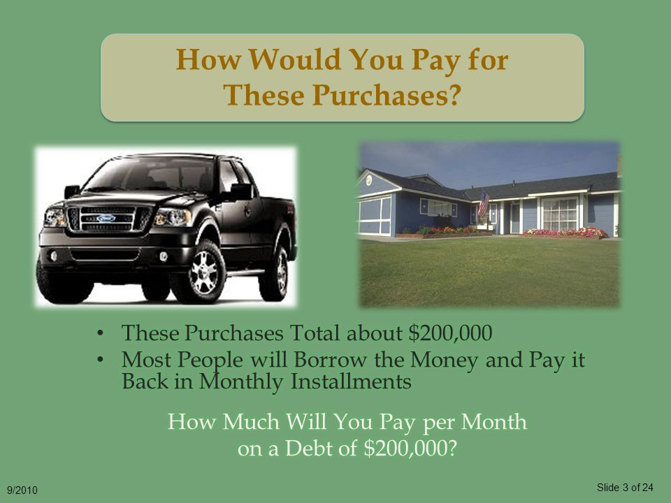 Slide 3 of 24 9/2010 How Would You Pay for These Purchases How Would You Pay for These Purchases