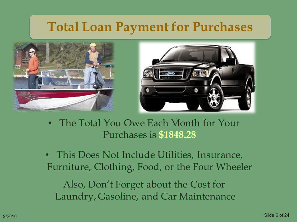 Slide 6 of 24 9/2010 Total Loan Payment for Purchases