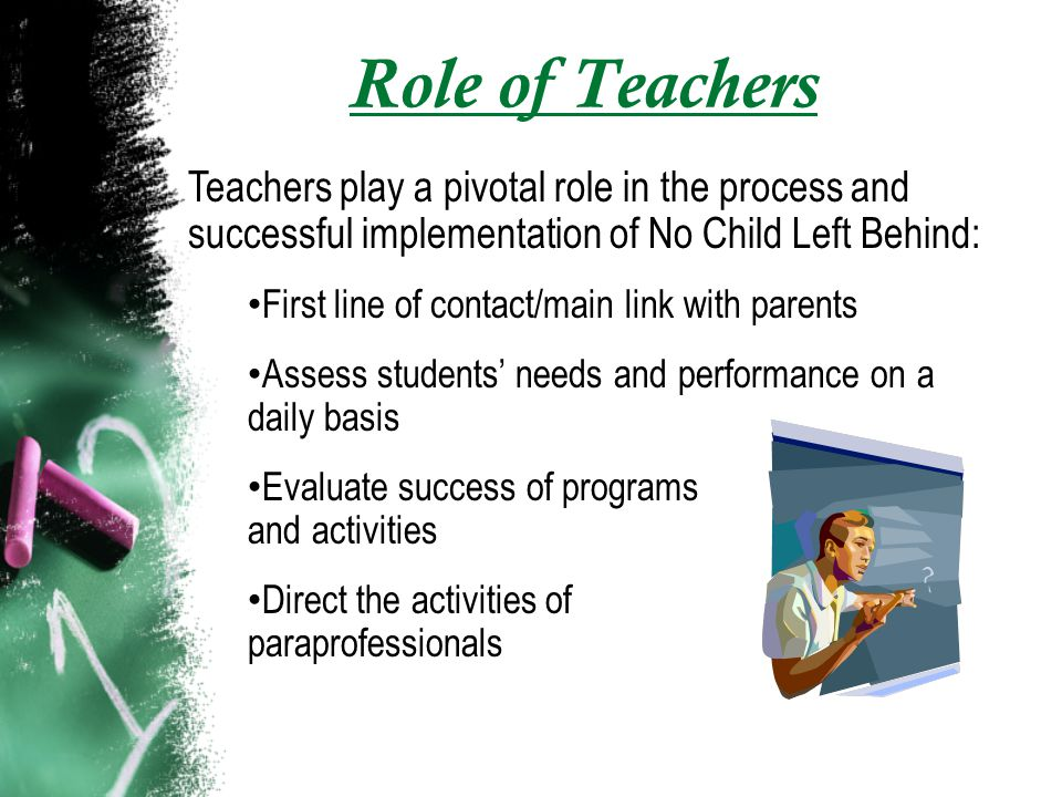 Role of Teachers Teachers play a pivotal role in the process and successful implementation of No Child Left Behind: First line of contact/main link with parents Assess students needs and performance on a daily basis Evaluate success of programs and activities Direct the activities of paraprofessionals