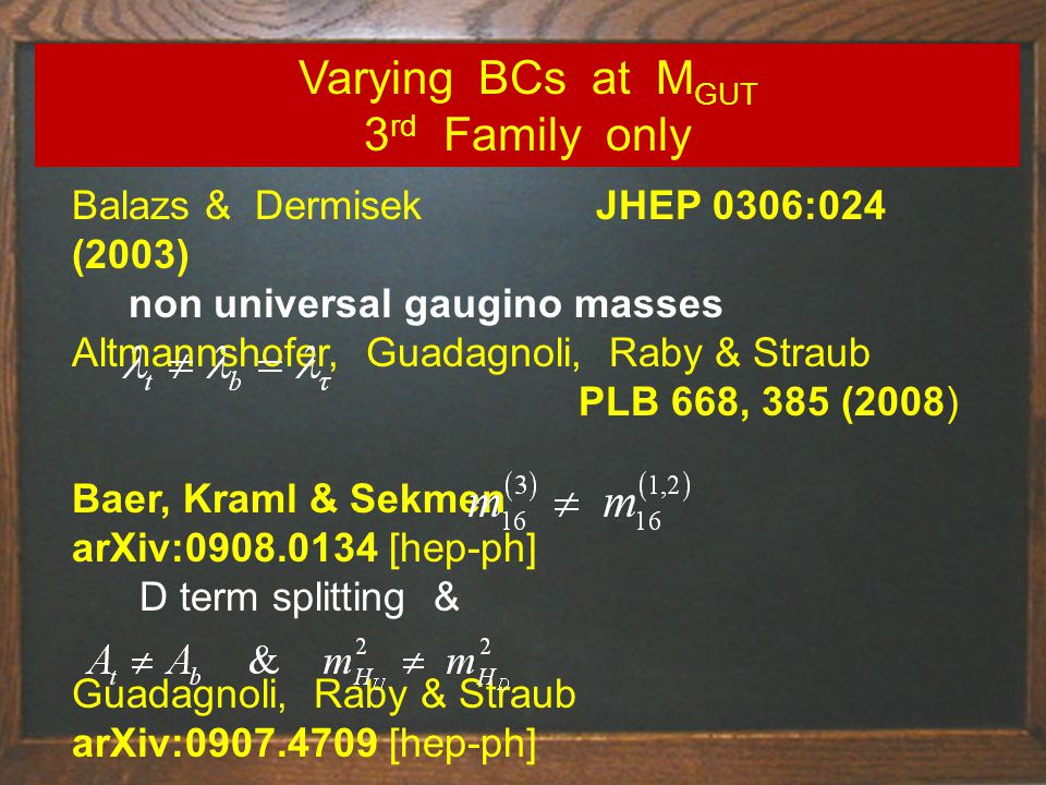 Balazs & Dermisek JHEP 0306:024 (2003) non universal gaugino masses Altmannshofer, Guadagnoli, Raby & Straub PLB 668, 385 (2008) Baer, Kraml & Sekmen arXiv:0908.0134 [hep-ph] D term splitting & Guadagnoli, Raby & Straub arXiv:0907.4709 [hep-ph] Varying BCs at M GUT 3 rd Family only