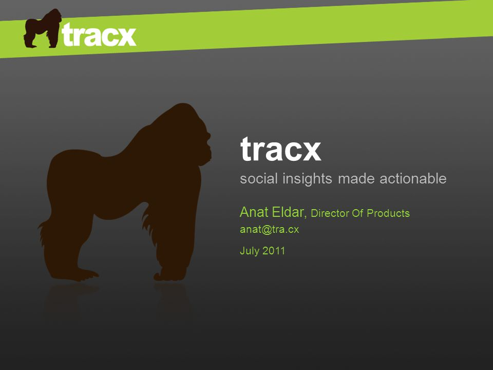 tracx social insights made actionable Anat Eldar, Director Of Products anat@tra.cx July 2011