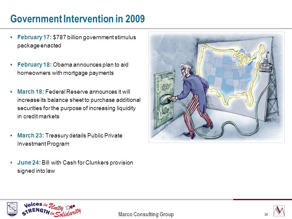 Marco Consulting Group 36 Government Intervention in 2009 February 17: $787 billion government stimulus package enacted February 18: Obama announces plan to aid homeowners with mortgage payments March 18: Federal Reserve announces it will increase its balance sheet to purchase additional securities for the purpose of increasing liquidity in credit markets March 23: Treasury details Public Private Investment Program June 24: Bill with Cash for Clunkers provision signed into law