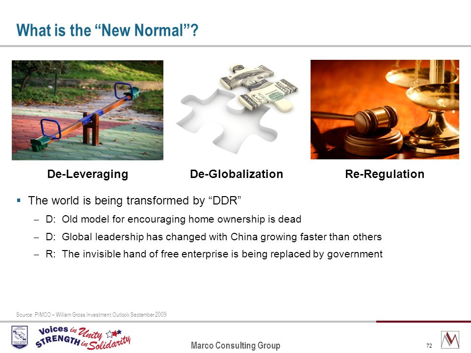 Marco Consulting Group 72 What is the New Normal.