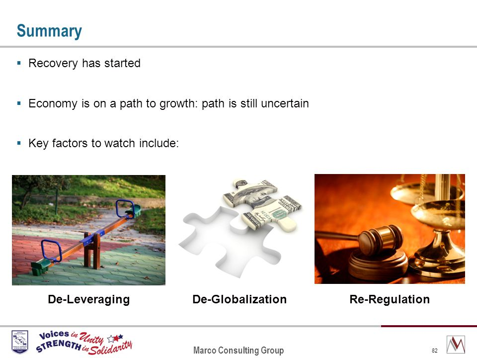 Marco Consulting Group 82 Summary Recovery has started Economy is on a path to growth: path is still uncertain Key factors to watch include: Re-RegulationDe-GlobalizationDe-Leveraging