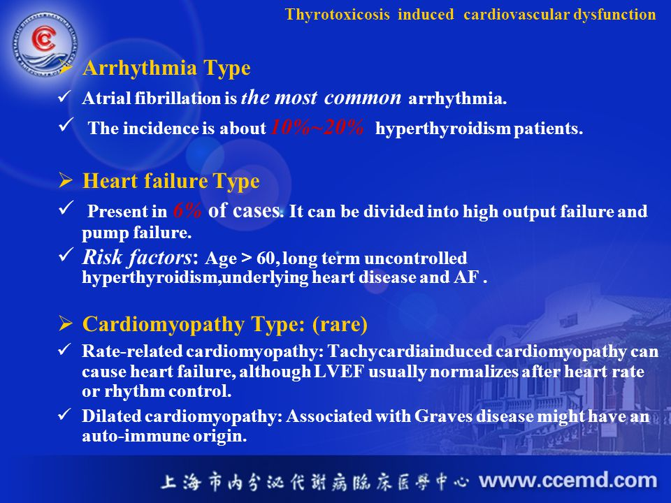 Arrhythmia Type Atrial fibrillation is t he most common arrhythmia. The incidence is about 10%~20% hyperthyroidism patients. Heart failure Type Presen