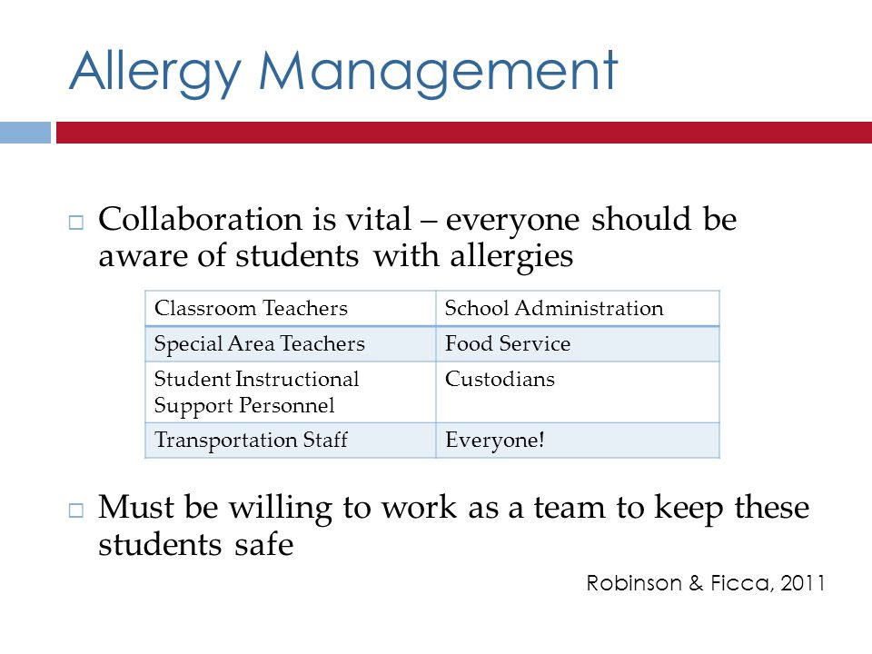 Allergy Management Collaboration is vital – everyone should be aware of students with allergies Must be willing to work as a team to keep these students safe Robinson & Ficca, 2011 Classroom TeachersSchool Administration Special Area TeachersFood Service Student Instructional Support Personnel Custodians Transportation StaffEveryone!