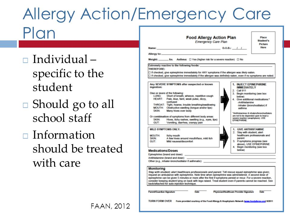 Allergy Action/Emergency Care Plan FAAN, 2012 Individual – specific to the student Should go to all school staff Information should be treated with care