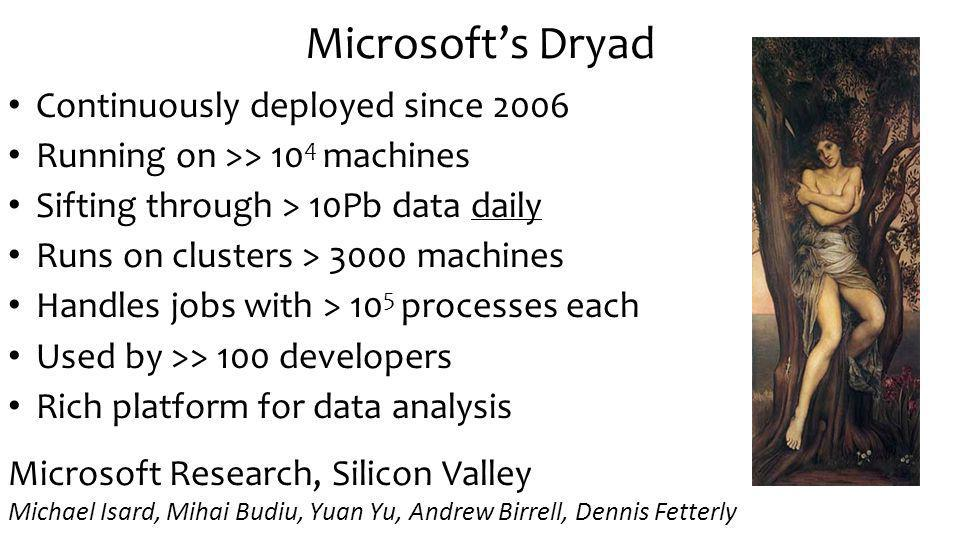Microsofts Dryad Continuously deployed since 2006 Running on >> 10 4 machines Sifting through > 10Pb data daily Runs on clusters > 3000 machines Handles jobs with > 10 5 processes each Used by >> 100 developers Rich platform for data analysis Microsoft Research, Silicon Valley Michael Isard, Mihai Budiu, Yuan Yu, Andrew Birrell, Dennis Fetterly