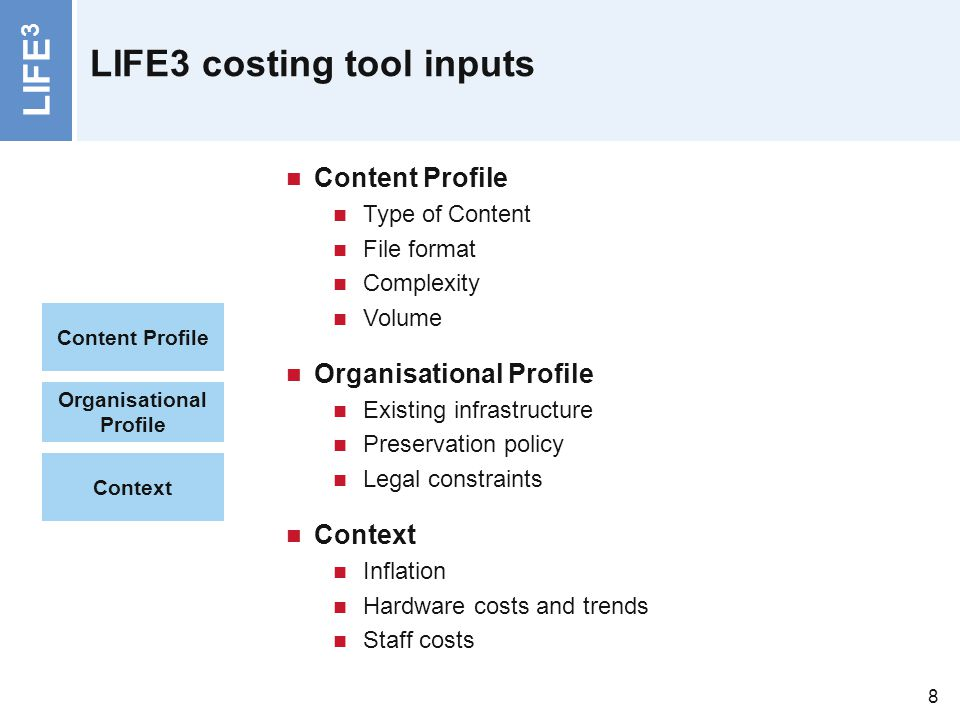 LIFE 3 8 LIFE3 costing tool inputs Organisational Profile Context Content Profile Type of Content File format Complexity Volume Organisational Profile